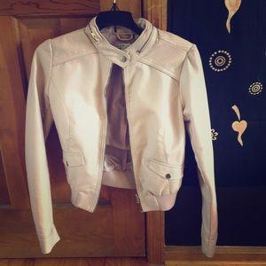 Fake leather light pink jacket